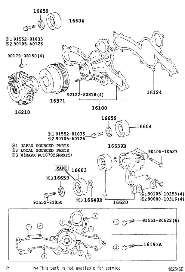 Diagram WATER PUMP for your 2000 Toyota Tundra