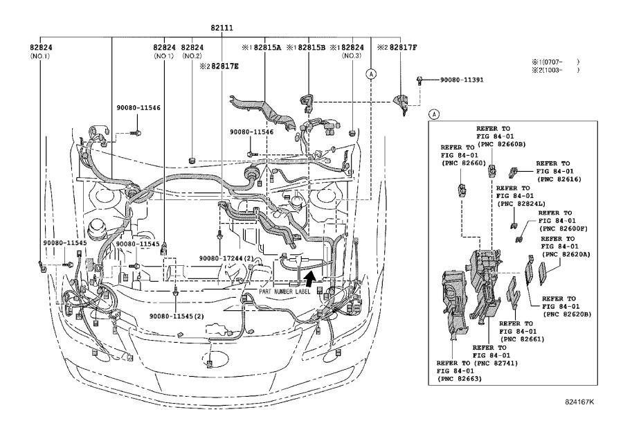 Toyota Avalon Connector  Wiring Harness  Engine  Room